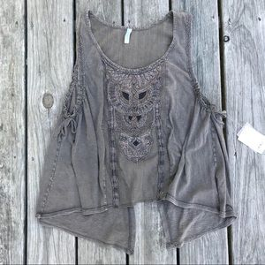 Free people open back embroidered/beaded tank